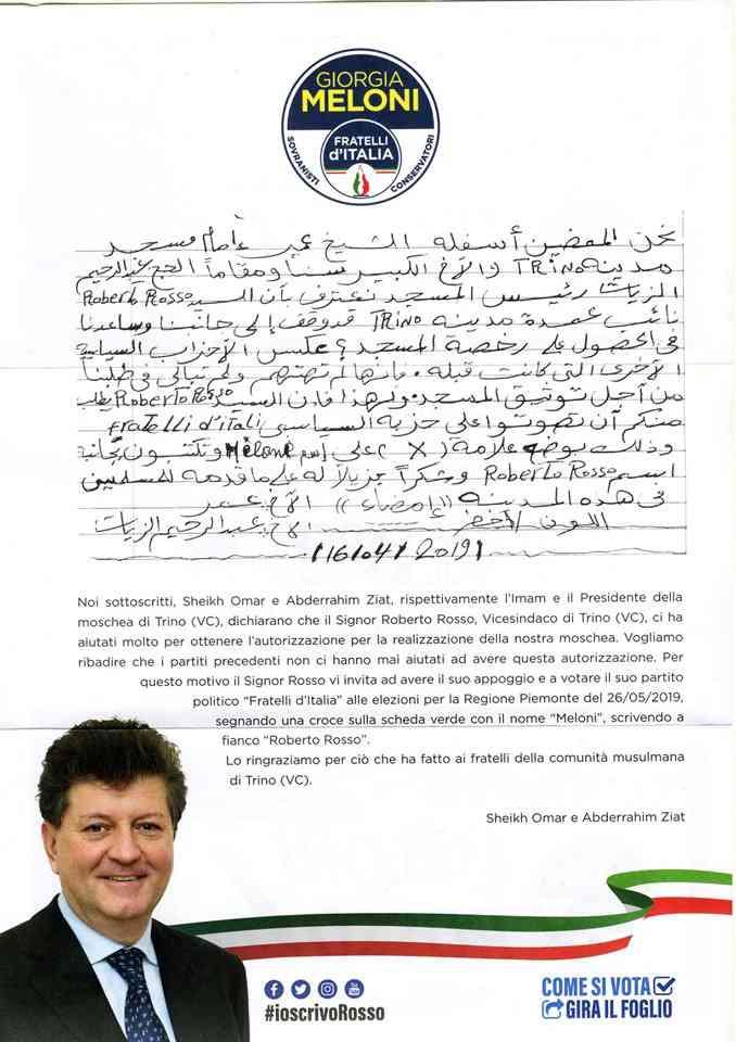 """Torino, imam e presidente: """"Votate Fratelli d'Italia, ci hanno aiutato con la Moschea"""""""