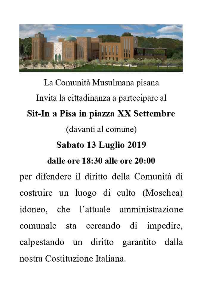 Comunità islamica di Pisa, Sti in di protesta di fronte al Comune